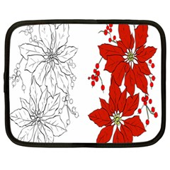 Poinsettia Flower Coloring Page Netbook Case (xl)  by Simbadda