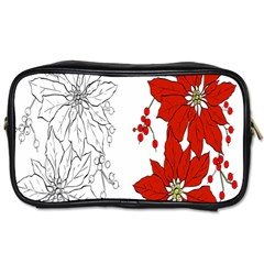 Poinsettia Flower Coloring Page Toiletries Bags by Simbadda