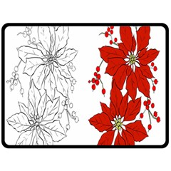 Poinsettia Flower Coloring Page Fleece Blanket (large)  by Simbadda