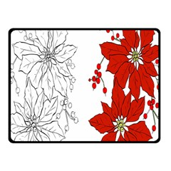 Poinsettia Flower Coloring Page Fleece Blanket (small) by Simbadda