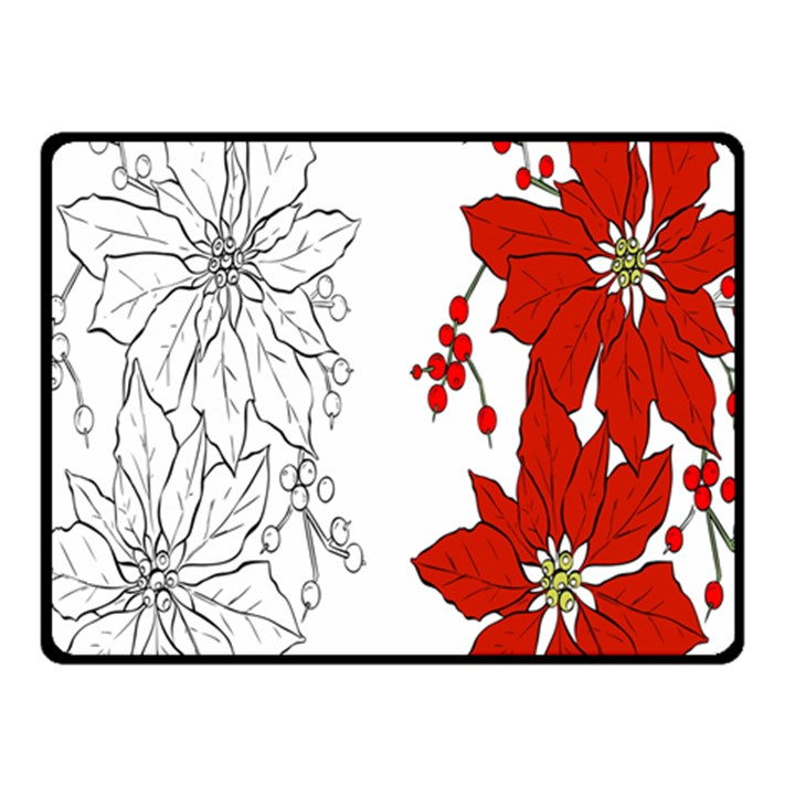 Poinsettia Flower Coloring Page Fleece Blanket (Small)