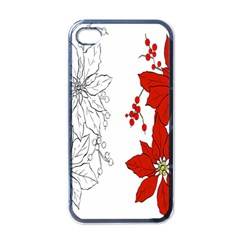 Poinsettia Flower Coloring Page Apple Iphone 4 Case (black) by Simbadda