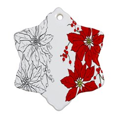 Poinsettia Flower Coloring Page Ornament (snowflake) by Simbadda