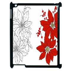 Poinsettia Flower Coloring Page Apple Ipad 2 Case (black) by Simbadda