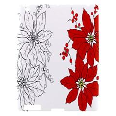 Poinsettia Flower Coloring Page Apple Ipad 3/4 Hardshell Case by Simbadda
