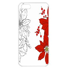 Poinsettia Flower Coloring Page Apple Iphone 5 Seamless Case (white) by Simbadda