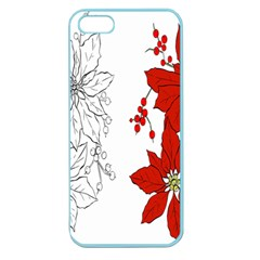 Poinsettia Flower Coloring Page Apple Seamless Iphone 5 Case (color) by Simbadda