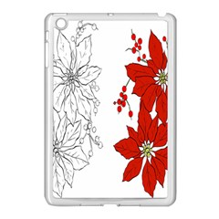 Poinsettia Flower Coloring Page Apple Ipad Mini Case (white) by Simbadda