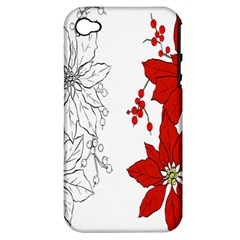 Poinsettia Flower Coloring Page Apple Iphone 4/4s Hardshell Case (pc+silicone) by Simbadda