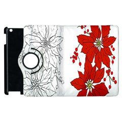 Poinsettia Flower Coloring Page Apple Ipad 3/4 Flip 360 Case by Simbadda