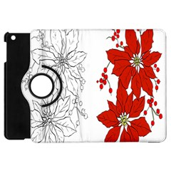 Poinsettia Flower Coloring Page Apple Ipad Mini Flip 360 Case by Simbadda