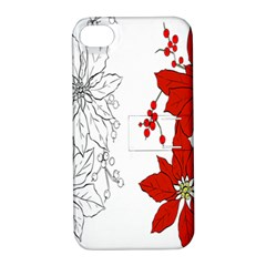Poinsettia Flower Coloring Page Apple Iphone 4/4s Hardshell Case With Stand by Simbadda
