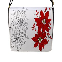 Poinsettia Flower Coloring Page Flap Messenger Bag (l)  by Simbadda