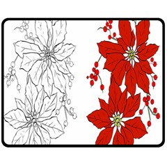 Poinsettia Flower Coloring Page Double Sided Fleece Blanket (medium)  by Simbadda