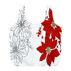 Poinsettia Flower Coloring Page Full Print Recycle Bags (l)  by Simbadda
