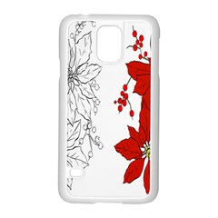 Poinsettia Flower Coloring Page Samsung Galaxy S5 Case (white) by Simbadda
