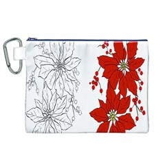 Poinsettia Flower Coloring Page Canvas Cosmetic Bag (xl) by Simbadda