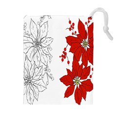 Poinsettia Flower Coloring Page Drawstring Pouches (extra Large) by Simbadda