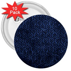 Hexagon1 Black Marble & Blue Stone (r) 3  Button (10 Pack) by trendistuff