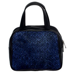 Hexagon1 Black Marble & Blue Stone (r) Classic Handbag (two Sides) by trendistuff