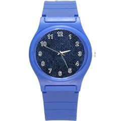 Hexagon1 Black Marble & Blue Stone (r) Round Plastic Sport Watch (s) by trendistuff