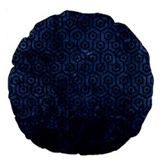 Hexagon1 Black Marble & Blue Stone (r) Large 18  Premium Round Cushion  by trendistuff