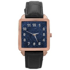Hexagon1 Black Marble & Blue Stone (r) Rose Gold Leather Watch  by trendistuff
