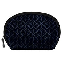 Hexagon1 Black Marble & Blue Stone Accessory Pouch (large) by trendistuff