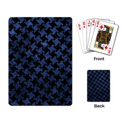 Houndstooth2 Black Marble & Blue Stone Playing Cards Single Design by trendistuff