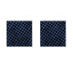 Houndstooth2 Black Marble & Blue Stone Cufflinks (square) by trendistuff