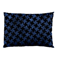 Houndstooth2 Black Marble & Blue Stone Pillow Case by trendistuff
