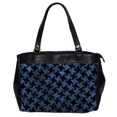 Houndstooth2 Black Marble & Blue Stone Oversize Office Handbag (2 Sides) by trendistuff