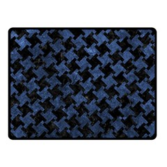 Houndstooth2 Black Marble & Blue Stone Fleece Blanket (small) by trendistuff