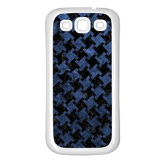 Houndstooth2 Black Marble & Blue Stone Samsung Galaxy S3 Back Case (white) by trendistuff