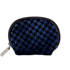 Houndstooth2 Black Marble & Blue Stone Accessory Pouch (small) by trendistuff