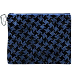 Houndstooth2 Black Marble & Blue Stone Canvas Cosmetic Bag (xxxl) by trendistuff