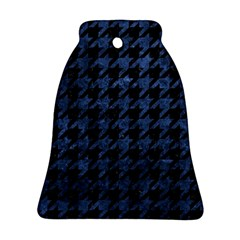 Houndstooth1 Black Marble & Blue Stone Bell Ornament (two Sides) by trendistuff