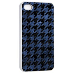 Houndstooth1 Black Marble & Blue Stone Apple Iphone 4/4s Seamless Case (white) by trendistuff