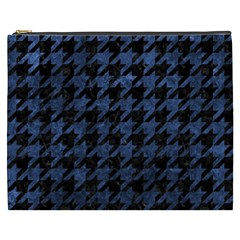 Houndstooth1 Black Marble & Blue Stone Cosmetic Bag (xxxl) by trendistuff