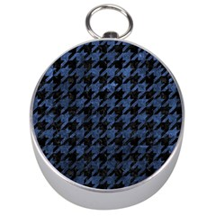 Houndstooth1 Black Marble & Blue Stone Silver Compass by trendistuff