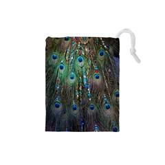 Peacock Jewelery Drawstring Pouches (small)  by Simbadda