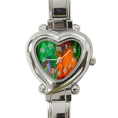 Watercolor Grunge Background Heart Italian Charm Watch by Simbadda