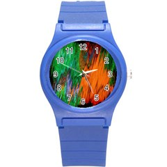 Watercolor Grunge Background Round Plastic Sport Watch (s) by Simbadda