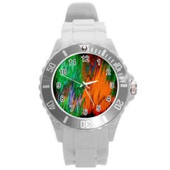 Watercolor Grunge Background Round Plastic Sport Watch (l) by Simbadda