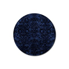 Damask2 Black Marble & Blue Stone (r) Rubber Round Coaster (4 Pack) by trendistuff
