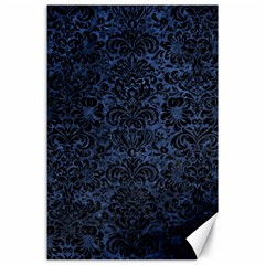 Damask2 Black Marble & Blue Stone (r) Canvas 24  X 36  by trendistuff