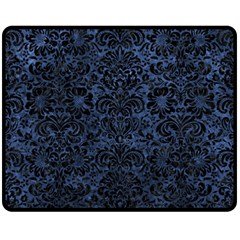 Damask2 Black Marble & Blue Stone (r) Fleece Blanket (medium) by trendistuff