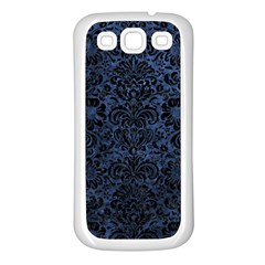 Damask2 Black Marble & Blue Stone (r) Samsung Galaxy S3 Back Case (white) by trendistuff