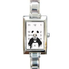 Panda Love Heart Rectangle Italian Charm Watch by Onesevenart