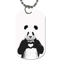 Panda Love Heart Dog Tag (two Sides) by Onesevenart
